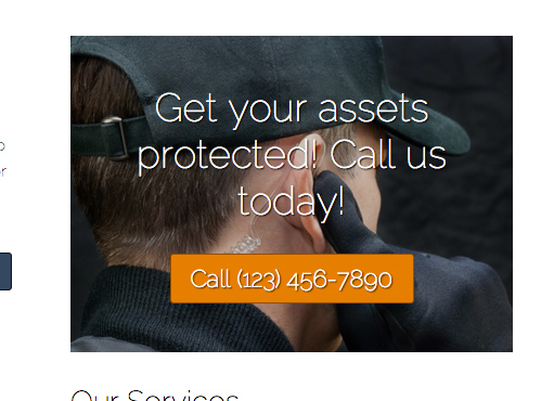 Security Services WordPress Theme - Prominent call-to-actions