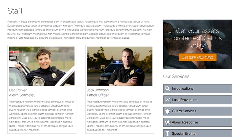Security Services WordPress Theme - Introduce your security experts