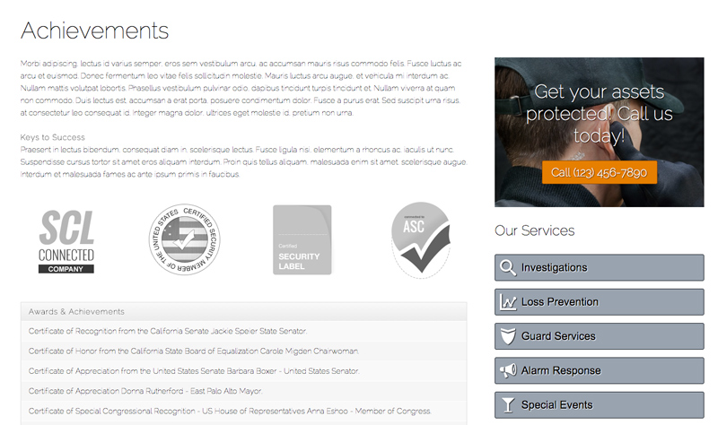 Security Services WordPress Theme - Trust icons