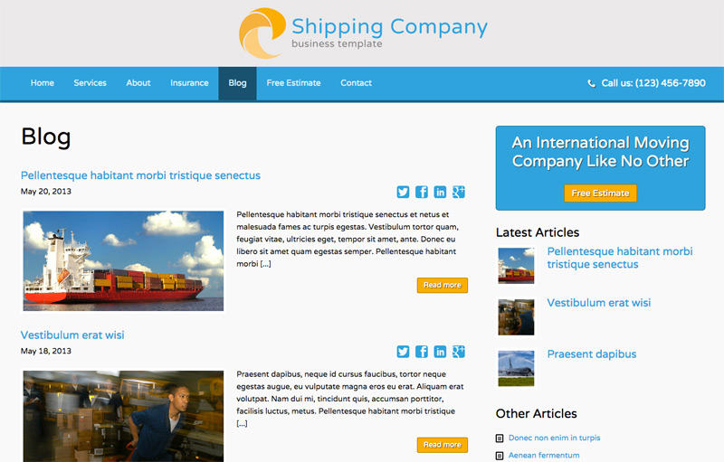Shipping Company WordPress Theme - Classic blog integrated