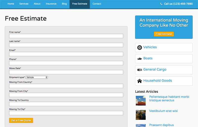 Shipping Company WordPress Theme - Online quote request form