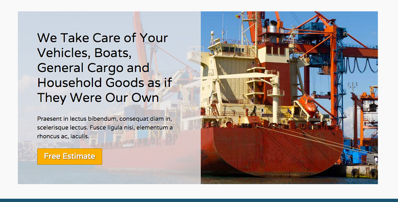 Shipping Company WordPress Theme - Clickable call to actions