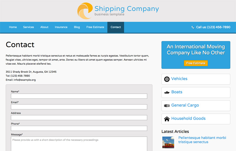 Shipping Company WordPress Theme - Contact section