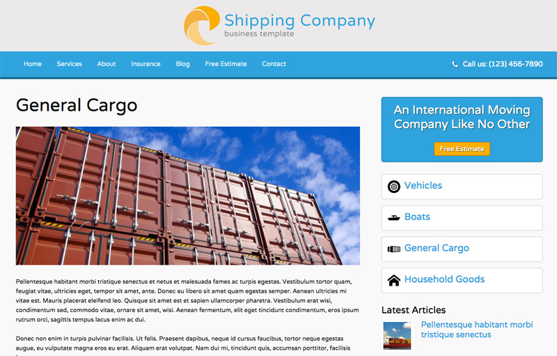 Shipping Company WordPress Theme - Detail pages for services