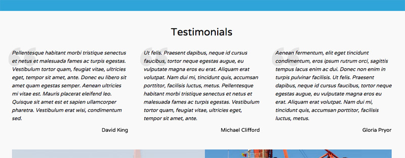 Shipping Company WordPress Theme - Testimonials section