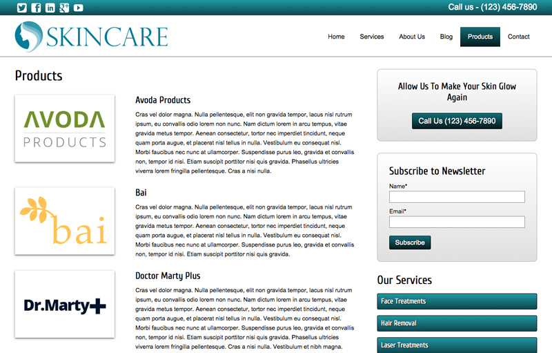 Skin Care WordPress Theme - Products overview