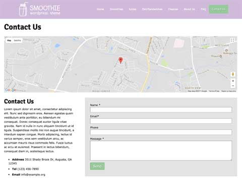 Smoothie WordPress Thema - Helpvolle contact pagina