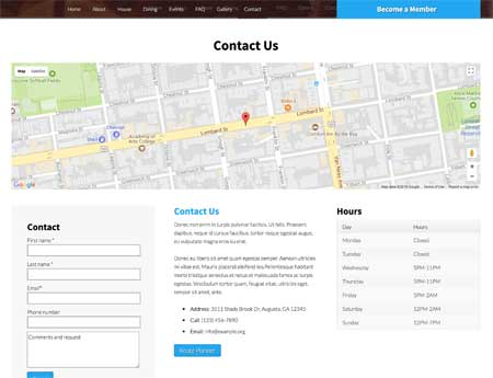Social Club WordPress Theme - Contact page with map