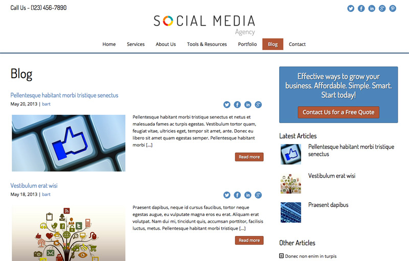 Social Media Agency WordPress Theme - Classic blog