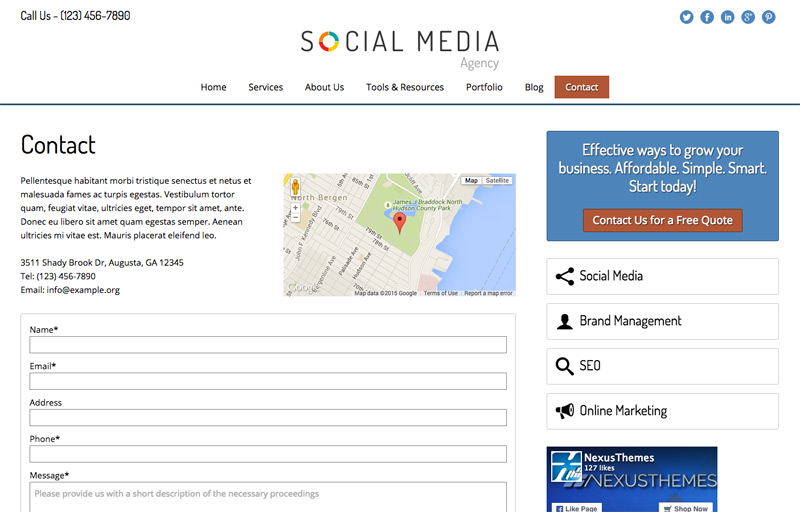 Social Media Agency WordPress Theme - Contact info which stands out