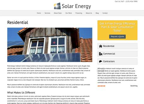 Solar Energy WordPress Theme - Individual service pages