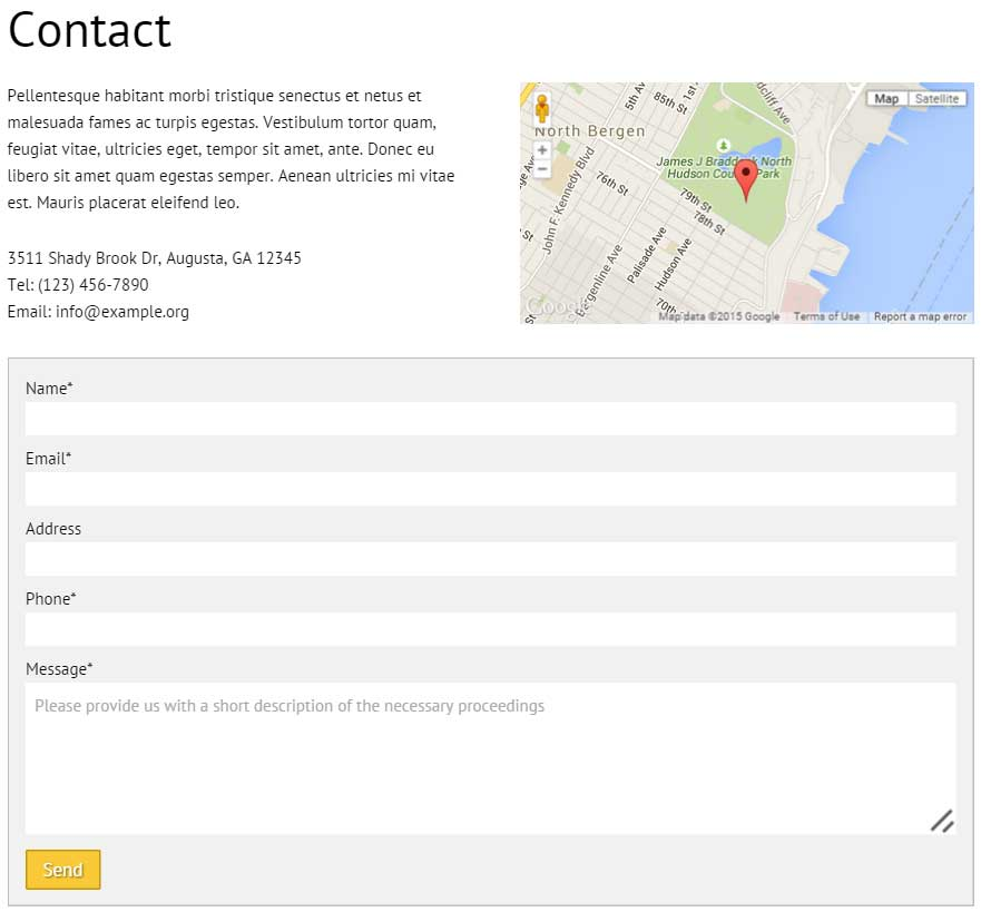 Solar Energy WordPress Theme - Clear contact information