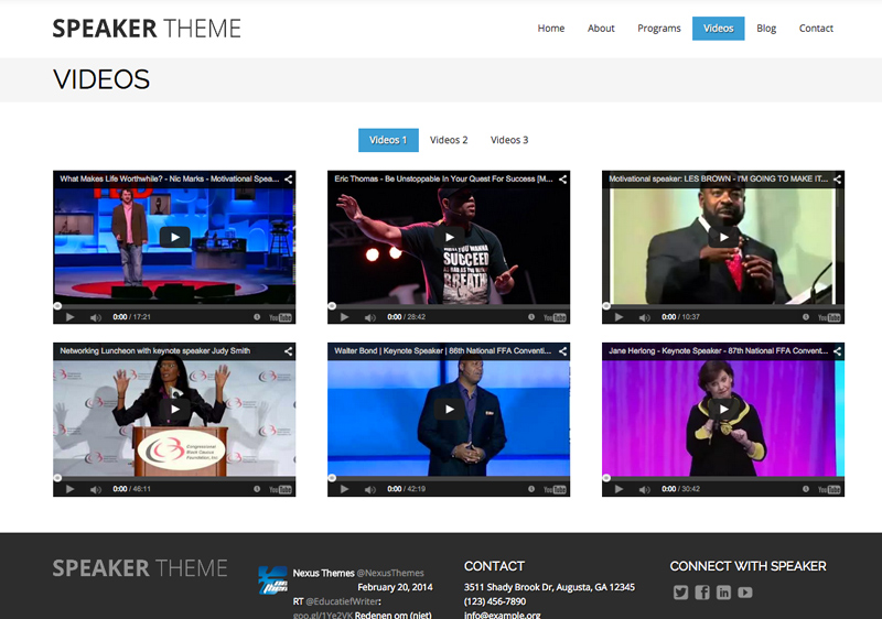 Speaker WordPress Theme - Video section
