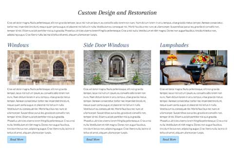 Stained Glass WordPress Theme - Detail pages for services