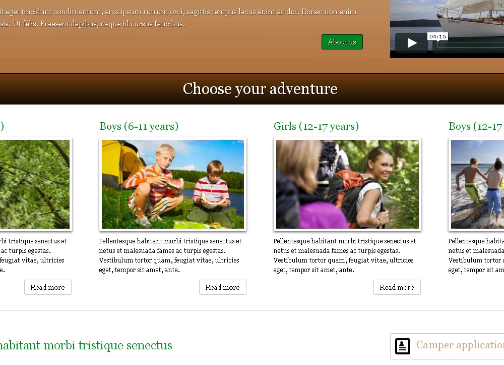 Summer Camp WordPress Theme - Attractive service pages