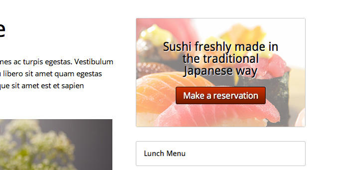 Sushi WordPress Theme - Call-to-actions