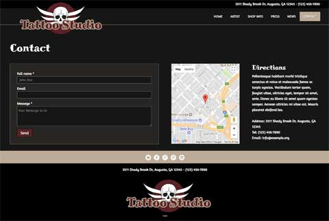 Tattoo Studio WordPress Thema - Duidelijke contact info