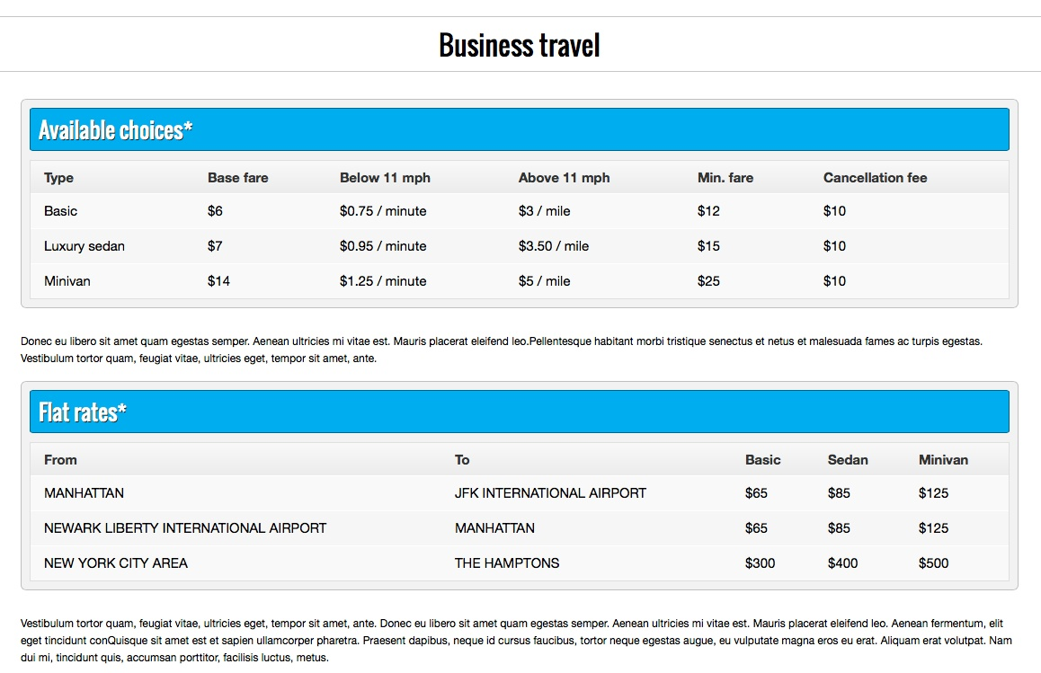 Taxi WordPress Theme - Neat pricing tables