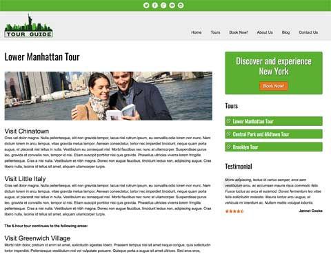 Tour Guide WordPress Theme - Individual service pages