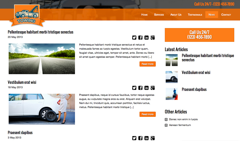 Towing WordPress Theme - Powerful blog features