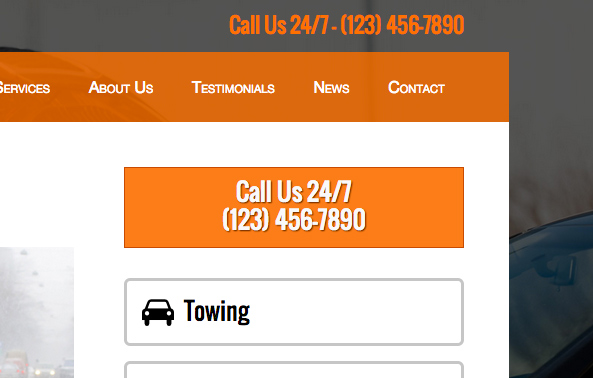 Towing WordPress Theme - Call-to-actions