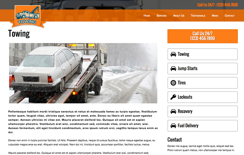 Towing WordPress Theme - Appealing service pages