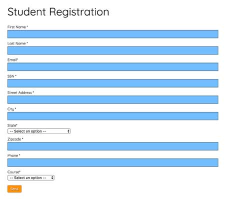 Training Center WordPress Theme - New student registration form