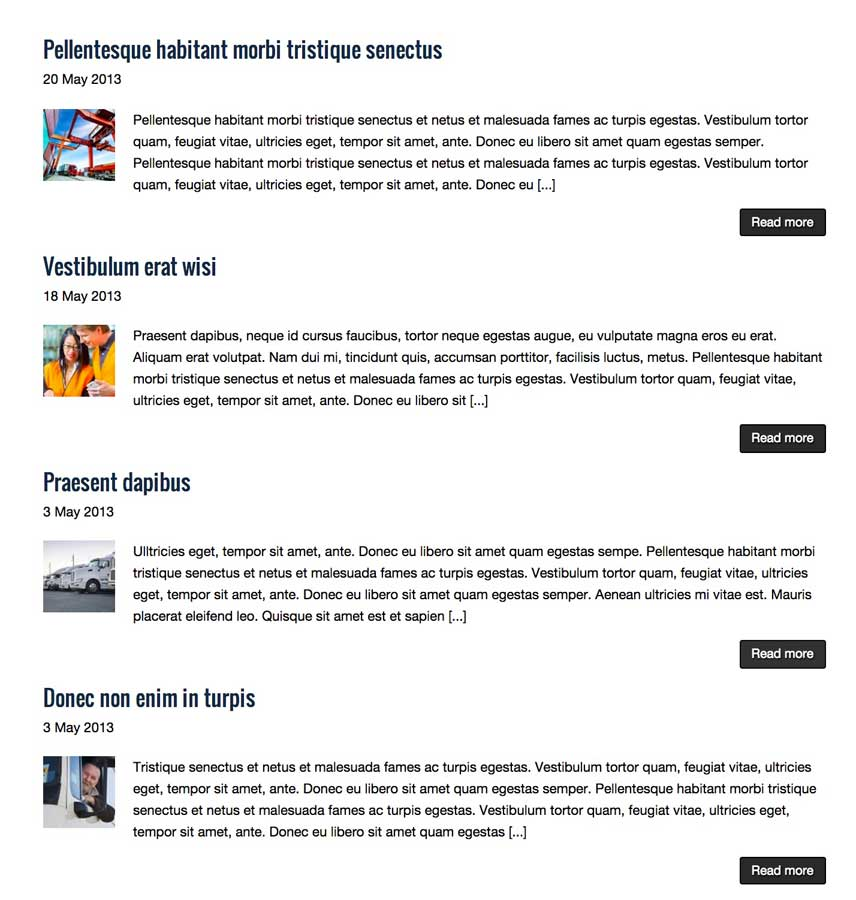 Transportation WordPress Theme - News blog included