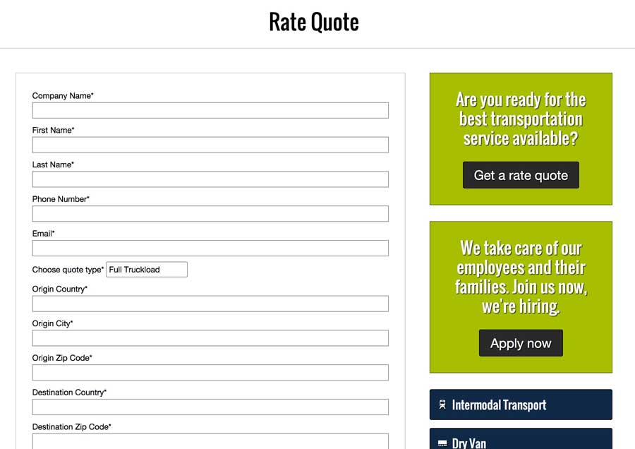Transportation WordPress Theme - Get more quotes