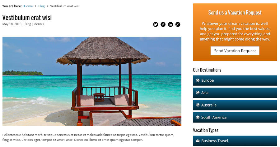 Travel Agency WordPress Theme - Blog Included