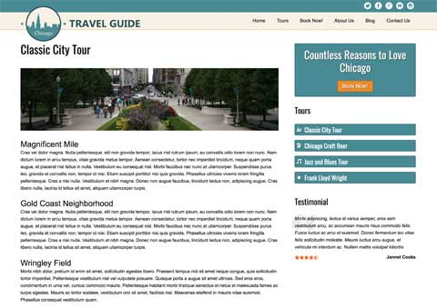 Travel Guide WordPress Theme - Beautiful service details
