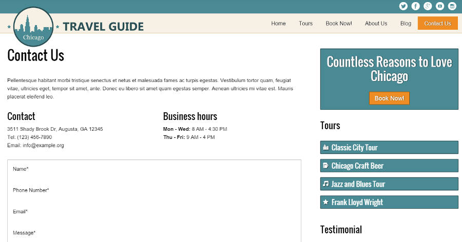 Travel Guide WordPress Theme - Contact page