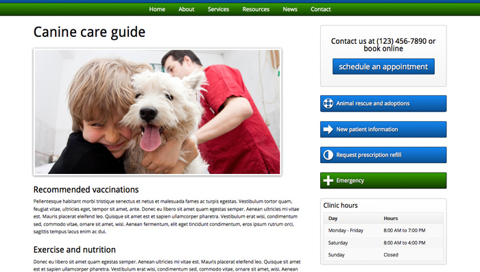 Veterinary WordPress Theme - Pet care resource pages