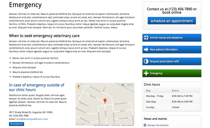Veterinary WordPress Theme - Emergency services page