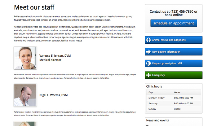Veterinary WordPress Theme - Staff bio page