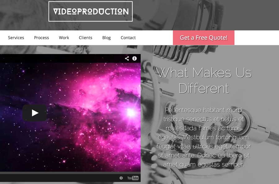 Video Production WordPress Theme - Clickable call to actions