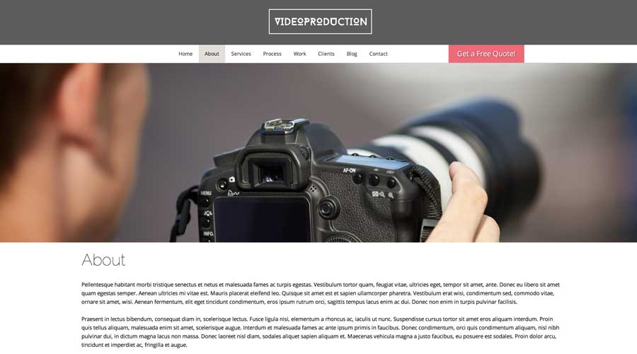 Video Production WordPress Theme - Clean, authoritative design