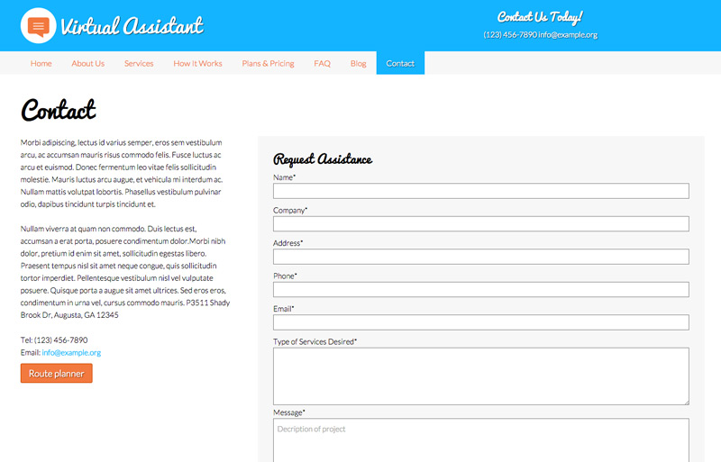 Virtual Assistant WordPress Theme - Contact us page