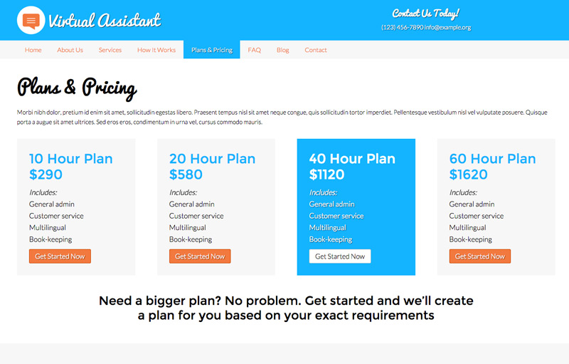 Virtual Assistant WordPress Theme - Pricing overview