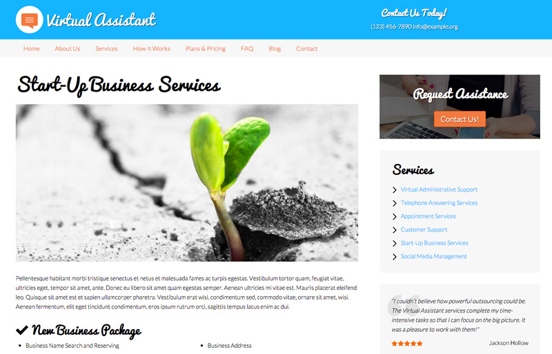 Virtual Assistant WordPress Theme - Service pages