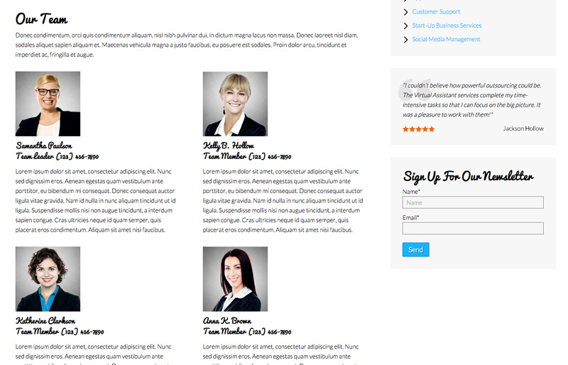 Virtual Assistant WordPress Theme - Introduce your team