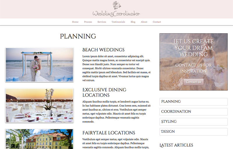 Wedding Coordinator WordPress Theme - Solid detail pages