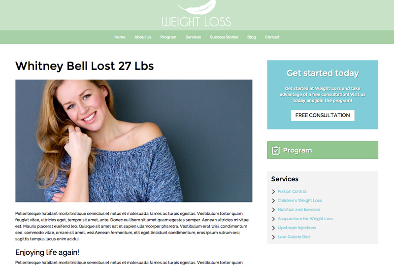 Weight Loss WordPress Theme - Share client reviews