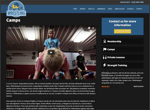 Wrestling WordPress Theme - Detail pages