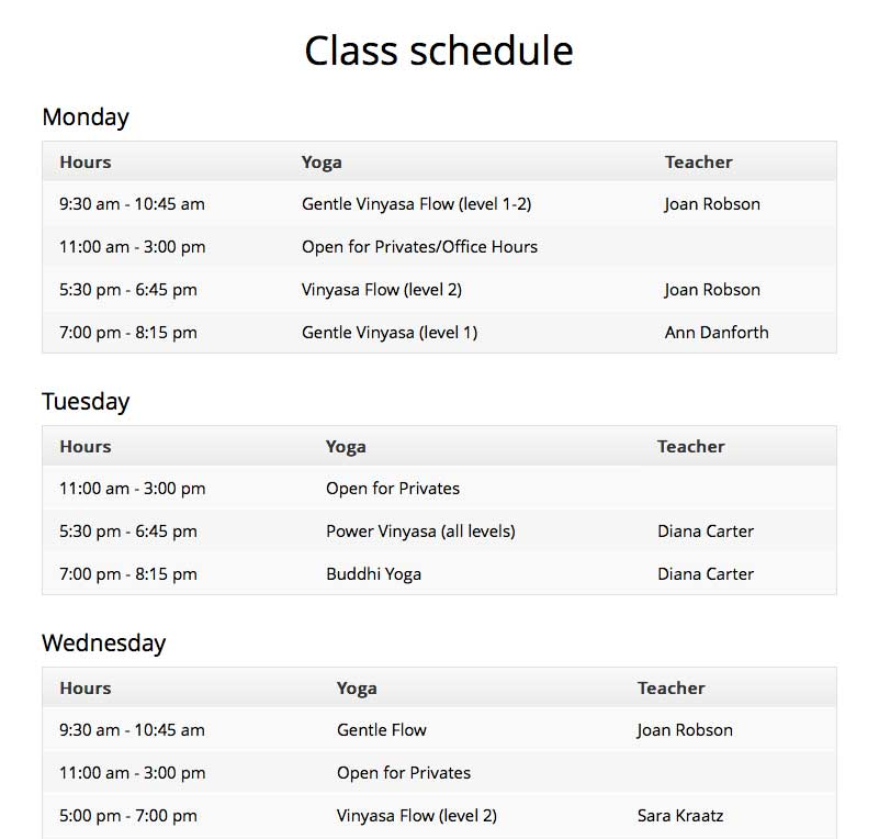 Yoga WordPress Theme - Class schedule