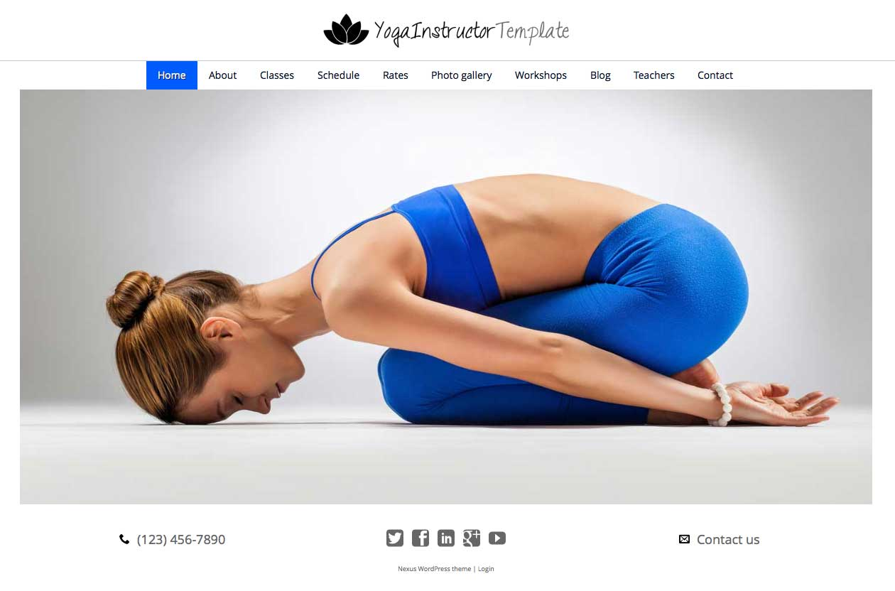 Yoga Instructor WordPress Theme - Classic slider