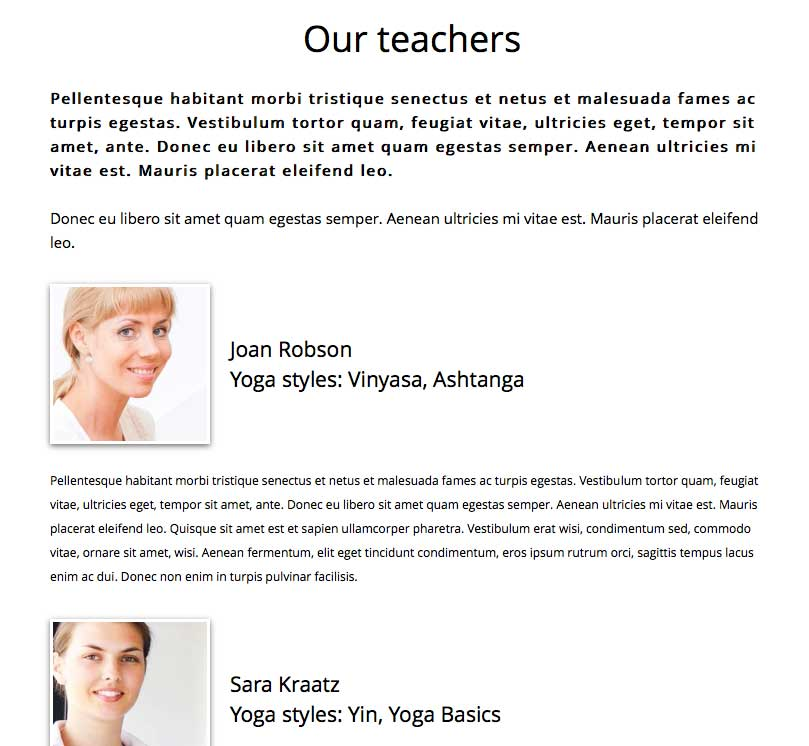 Yoga WordPress Theme - Meet the team