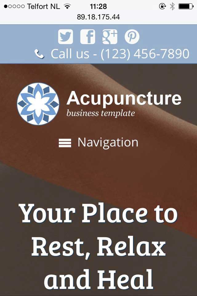 mobile phone screenshot Acupuncture WordPress Theme