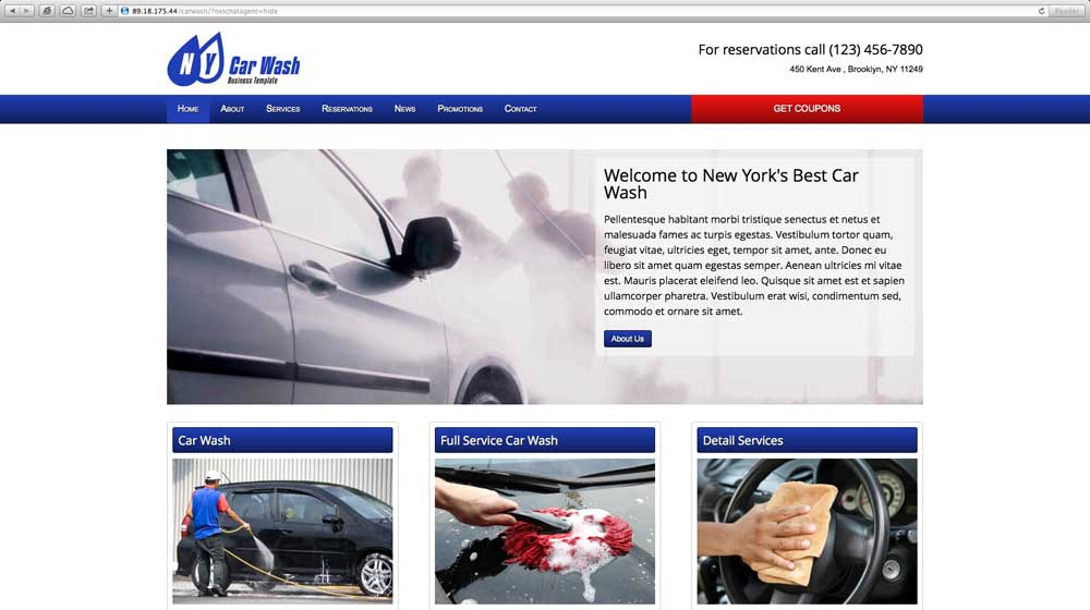 desktop screenshot Car Wash WordPress Theme