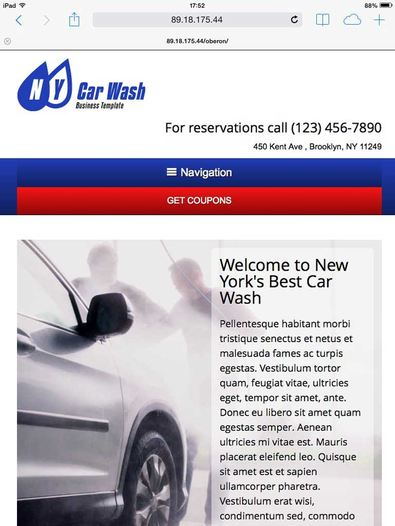 tablet screenshot Car Wash WordPress Theme